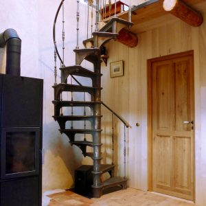 Country home interior staircase