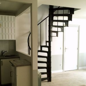 French industrial spiral stairs